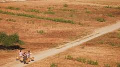 Burmese rural women carrying baskets through desert landscape. Bagan, Myanmar Stock Footage