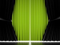 Green curtain concept Stock Illustration