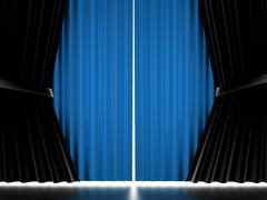 Blue curtain cloth rendered Stock Illustration