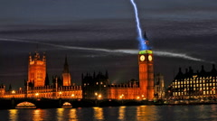 Houses of Parliament London at dusk in a simulated thunder storm time-lapse Arkistovideo
