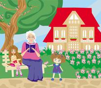 Grandmother and granddaughter in the garden Stock Illustration