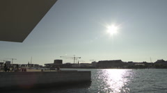 Panning along the Copenhagen Opera house Stock Footage