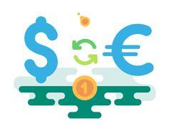 Dollar Euro Currency Exchange Stock Illustration