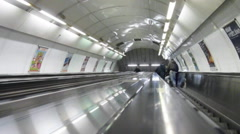 Out of focus escalator in Prague Metro station Stock Footage
