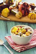 Tropical Fruit Salad with Ingredients - stock photo
