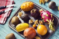 Exotic Tropical Fruits on Tray - stock photo