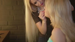 Beautiful model -make up-lips. Make up artist applying make up Stock Footage
