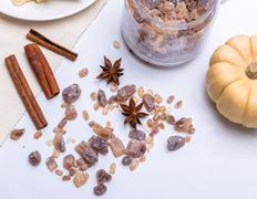 Different sweet sugar - brown, white and crystal and spieces - cinnamon and anis Stock Photos