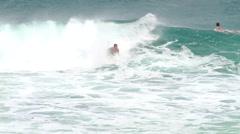 Bodyboarding Sandy's Beach in Hawaii - stock footage