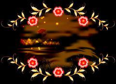 Mountains, lake and ornament on dark moonlit night. EPS10 vector illustration Stock Illustration