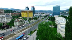 Sarajevo city aerial - slow motion - stock footage