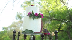 Wedding cake on antique wooden stand in outdoor sunlight, steadicam Stock Footage
