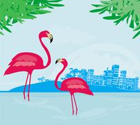 Illustration with green palms and pink flamingo Stock Illustration