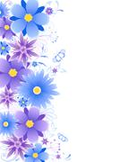 Floral background  with blue flowers Stock Illustration