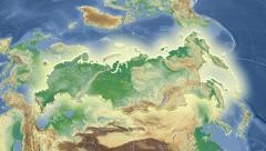Russia outlined and glowed. Neighbourhood. Physical Stock Footage