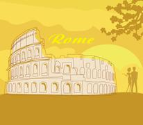 Couple silhouette in front of Colosseum in Rome Stock Illustration