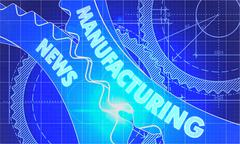 Stock Illustration of Manufacturing News on the Cogwheels. Blueprint Style