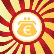 Euro purse abstract icon Stock Illustration