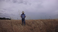 Using divining rods ,drought Stock Footage