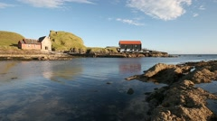 Dunaverty rock and boathouse from Mull of Kintyre - stock footage