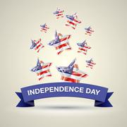 Independence Day with star in national flag colors - stock illustration