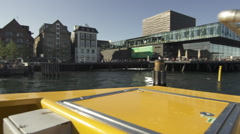 Moving cam sail along Royal Danish Playhouse Stock Footage