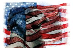 multiple exposures of the flag of the United States of America - stock photo