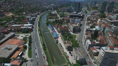 Sarajevo buildings and river Stock Footage