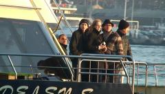 Tourists sailing on cruis ship. Istanbul, Golden Horn, Eminonu, Bosphorus Stock Footage