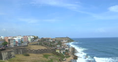 View of buildings and Fort San Felipe del Morro near sea coast Stock Footage