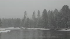 View of snowfall over Deschutes River, Oregon, USA Stock Footage