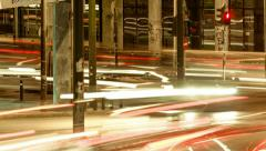 Athens city night street intersection, traffic, rush hour,traffic jam timelapse - stock footage
