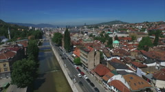 Sarajevo Old Town Aerial Stock Footage