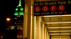 Stock Video Footage of 42nd Street subway entrance