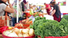 Summer farmers market on Main Street in Parker, Colorado. Stock Footage