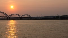 Mississippi River Sunset Time Lapse Stock Footage