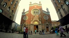 People visiting church of St. Anthony of Padua basilica Roman Catholic Church Stock Footage