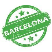 Barcelona green stamp - stock illustration