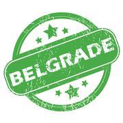 Belgrade green stamp - stock illustration