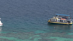 Visitors on a glass boat  in Eilat Israel Stock Footage