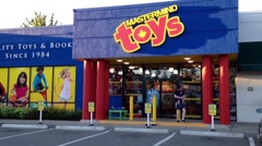 One side of Mastermind toy store entrance Stock Footage