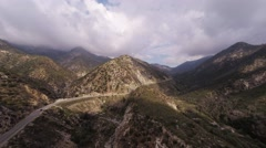 Aerial. Flying over Angeles Crest Hwy. Hills. Stock Footage