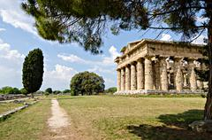Archaeological  site of Paestum , Temple of Hera . Italy Stock Photos
