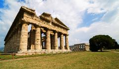 Temple of Neptune the famous Paestum archaeological  site . Italy - stock photo