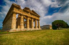 Temple of Neptune in High Dynamic Range.  Paestum archaeological  site in Ita - stock photo