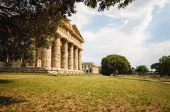 Archaeological  site of Paestum , Temple of Neptune . Italy Stock Photos