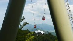 Cable car cabin moves, view from between pillars Stock Footage