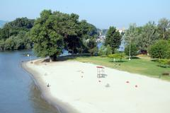 Little empty beach on Danube Stock Photos