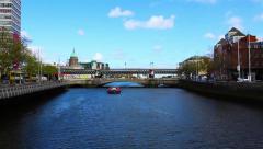 Liffey River, Bridge and Boat, Dublin, Ireland Stock Footage