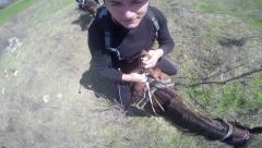 4K tourist jockey ride on horse back. UHD stock video Stock Footage